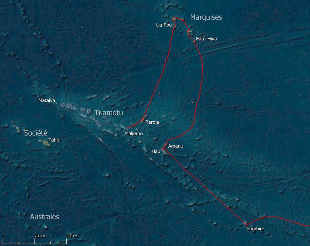Cinquième étape de la transpacifique des Marquises aux Tuamotu