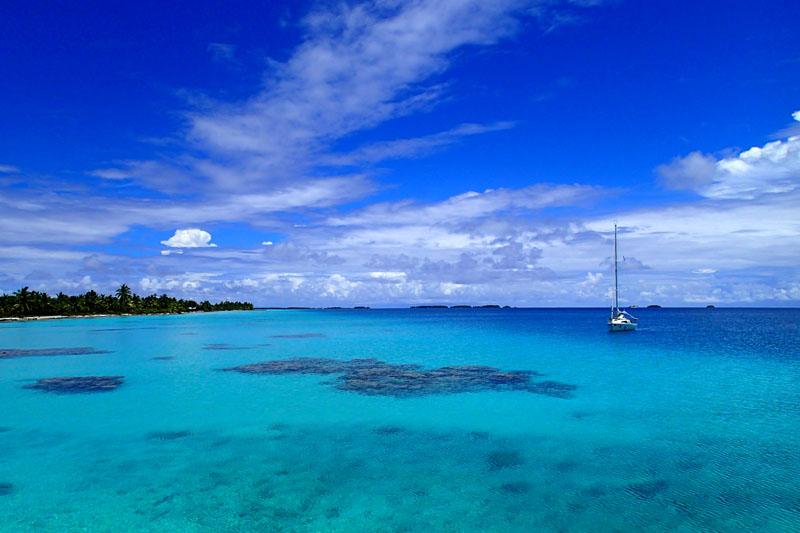 Le mouillage du village de Nukumaru sur le reef Nord de l'atoll de Aratika