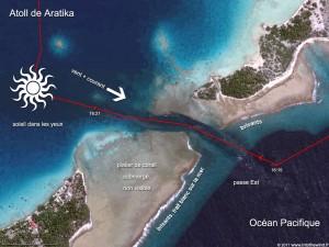 Une des passes les plus dangereuses des Tuamotu, la passe Est de Aratika