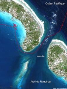 Pour rentrer dans l'atoll de Rangiroa, la passe Est est la plus favorable