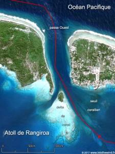 Pour sortir de l'atoll de Rangiroa, la passe Ouest est la plus favorable