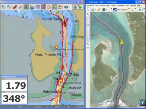 Passe de Maupiti : OpenCPN et SAS Planet se partage l'écran du PC
