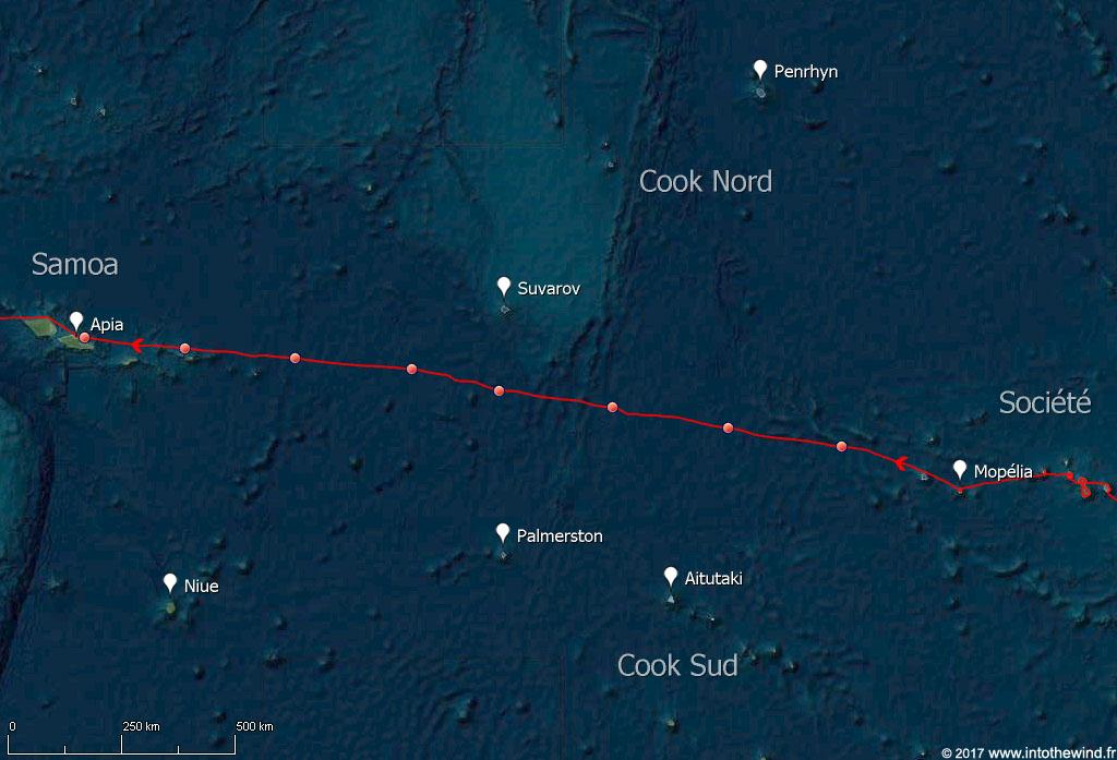 Septième étape de la transpacifique de la Société aux Samoa