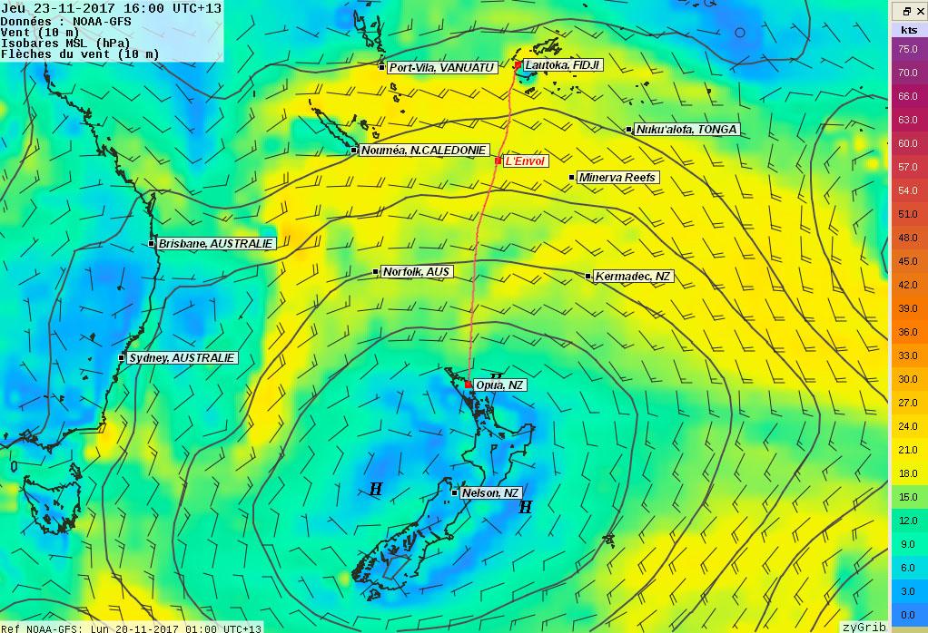 Anticyclone à 1025 hPa centré sur la Nouvelle-Zélande