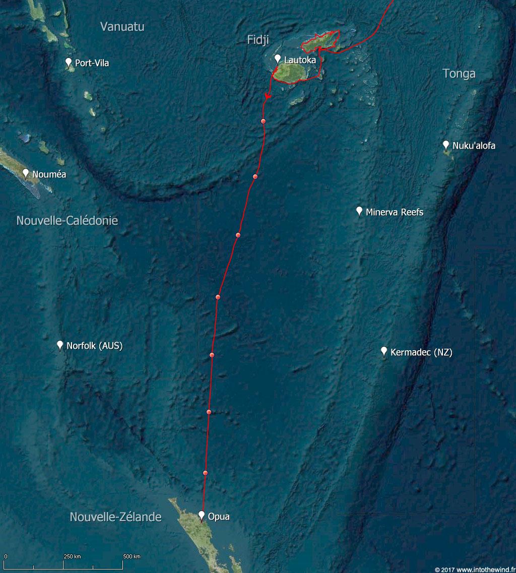 Dixième étape de la transpacifique des Fidji à la Nouvelle-Zélande