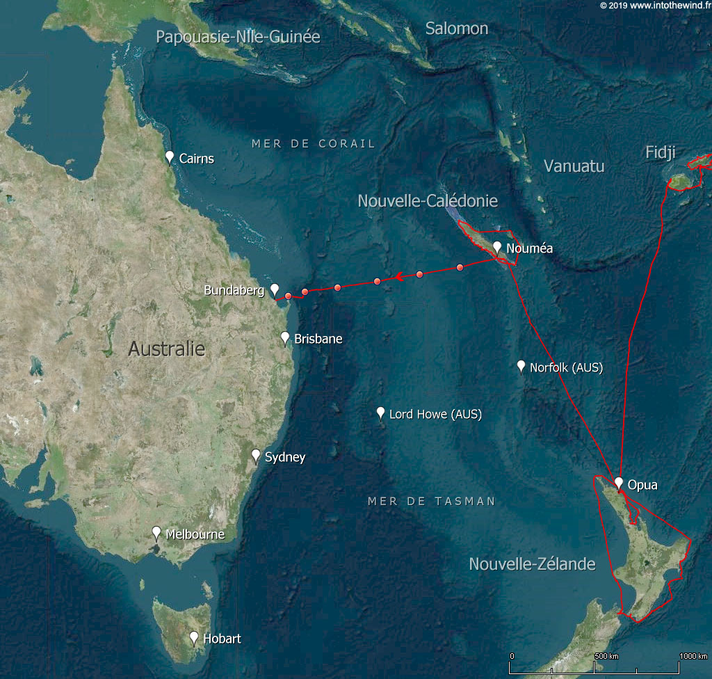 Douzième et dernière étape de cette transpacifique de la Nouvelle-Calédonie à l'Australie