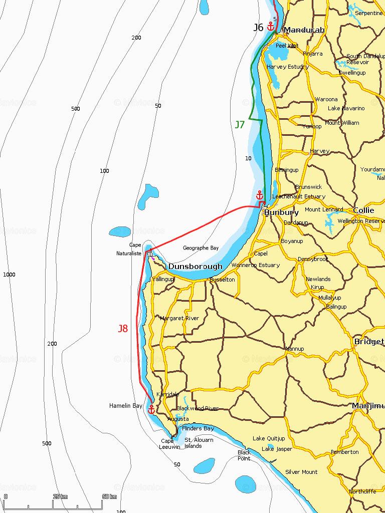 J7-8 Mandurah, Bunbury, cap Naturaliste, Hamelin Bay