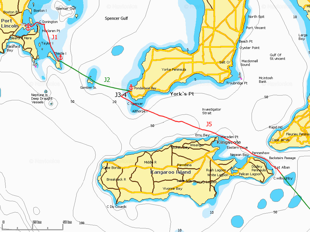 J1-5 Port Lincoln, Thistle Island, Pondalowie Bay, Investigator Strait, Backstairs Passage