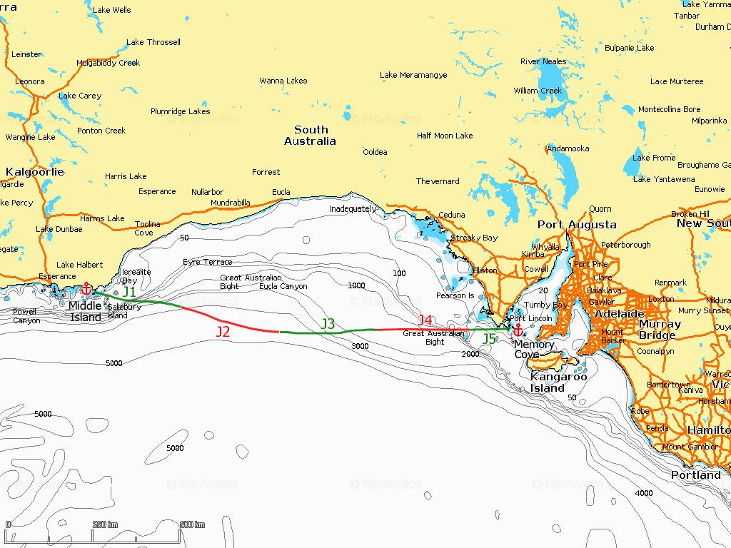 J1-5 Traversée de la Great Australian Bight, Middle Island – Memory Cove