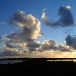 Isthme entre le lac Hillier (à D) et l'océan (à G)