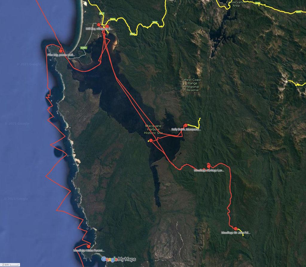 Le Macquarie Harbour - cliquer sur l'image pour ouvrir la Google Maps