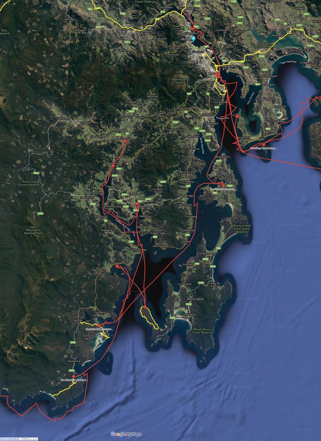 Côte Sud et Sud-Est - cliquer sur l'image pour ouvrir la Google Maps