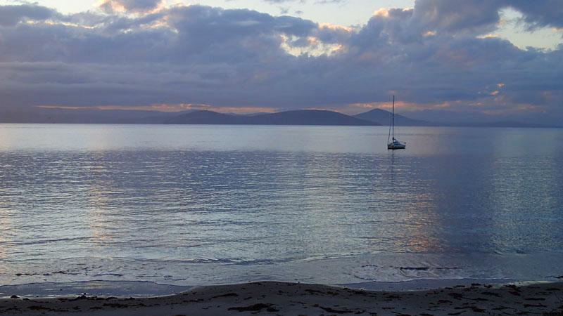 Le mouillage exposé de Darlington Bay (au Nord de Maria Island)