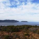 Vue du Mt Brown, le Gap entre le cap Pillar et la Tasman Island