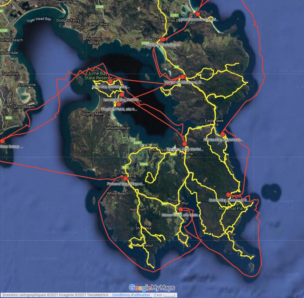 Norfolk Bay - cliquer sur l'image pour ouvrir la Google Maps