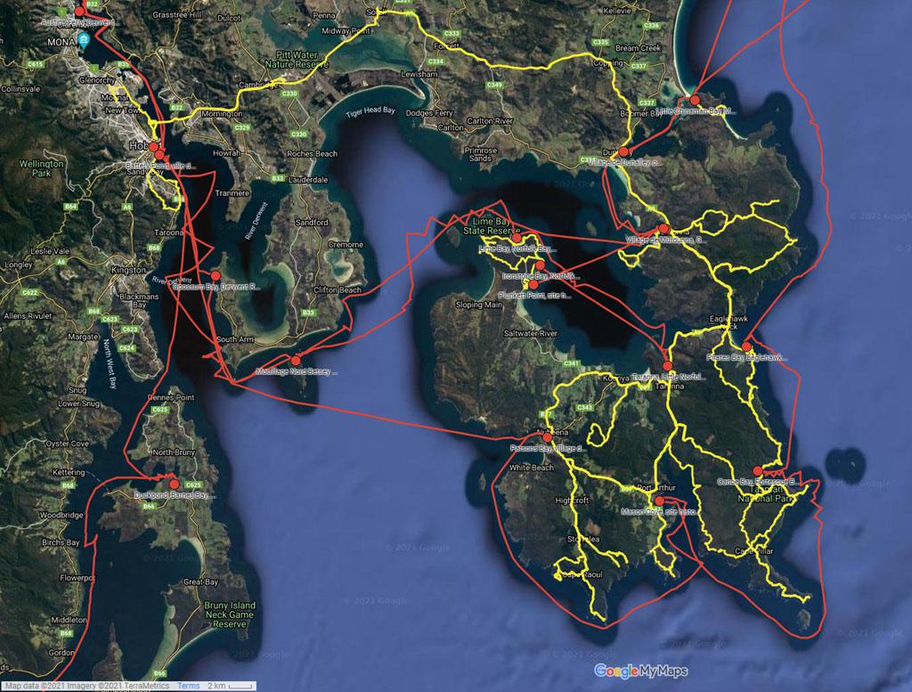 Taranna, Hobart et Murdunna - cliquer sur l'image pour ouvrir la Google Maps